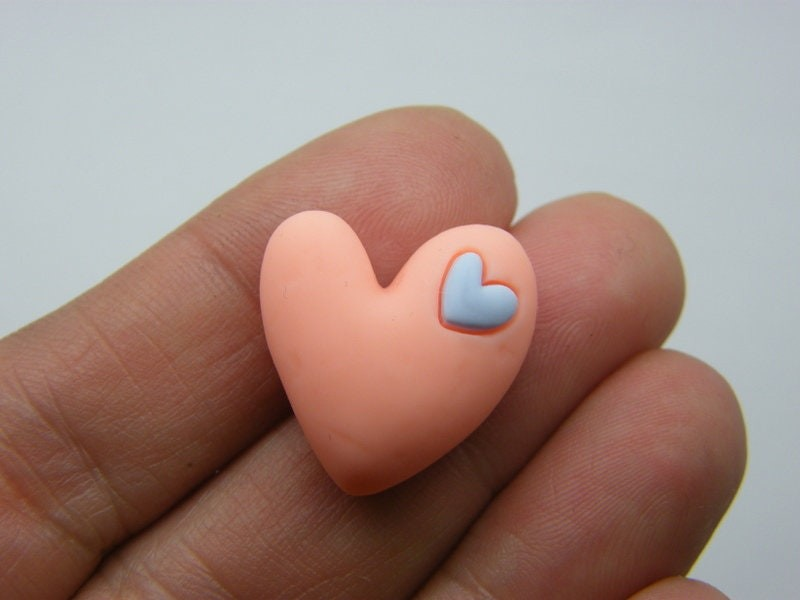 8 Heart embellishment cabochons coral blue resin H184