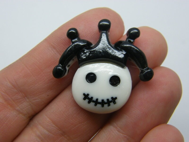 4 Jester skeleton Halloween cabochon embellishment resin HC380