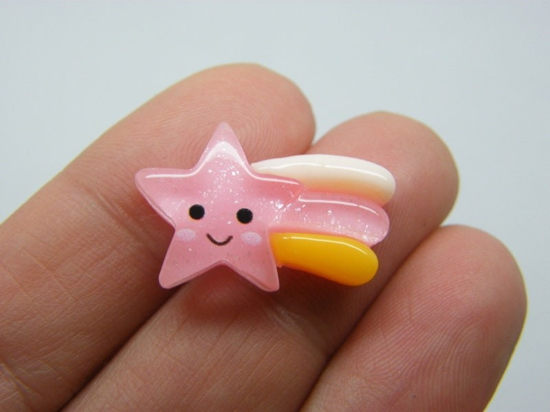 8 Shooting star embellishment cabochons pink resin S241