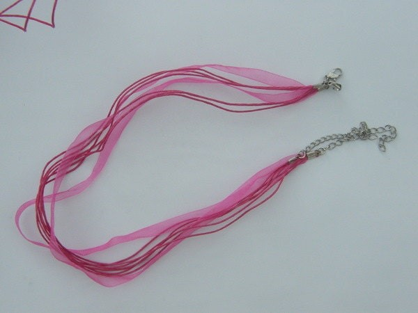 5 Pink ribbon voile necklace 46cm 18""