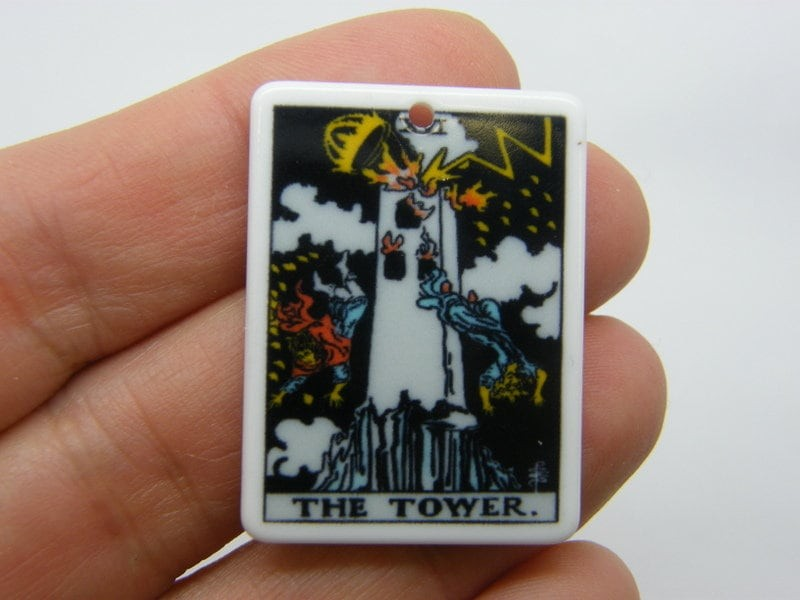 1 The tower tarot reading card pendant resin HC414