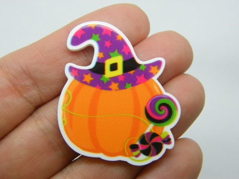 4 Witch hat pumpkin candy embellishment cabochons resin HC423