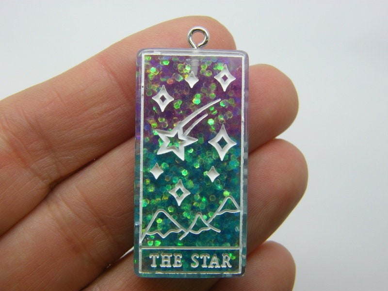 1 The star tarot reading card pendant purple blue resin HC430