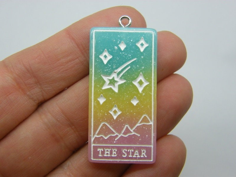 1 The star tarot reading card pendant blue yellow pink resin HC429