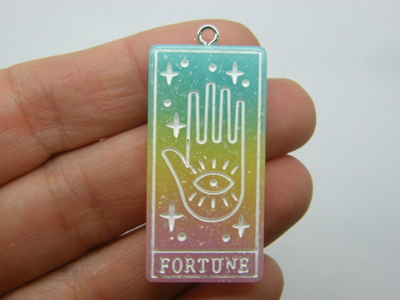 1 Fortune tarot reading card pendant blue yellow pink resin HC426