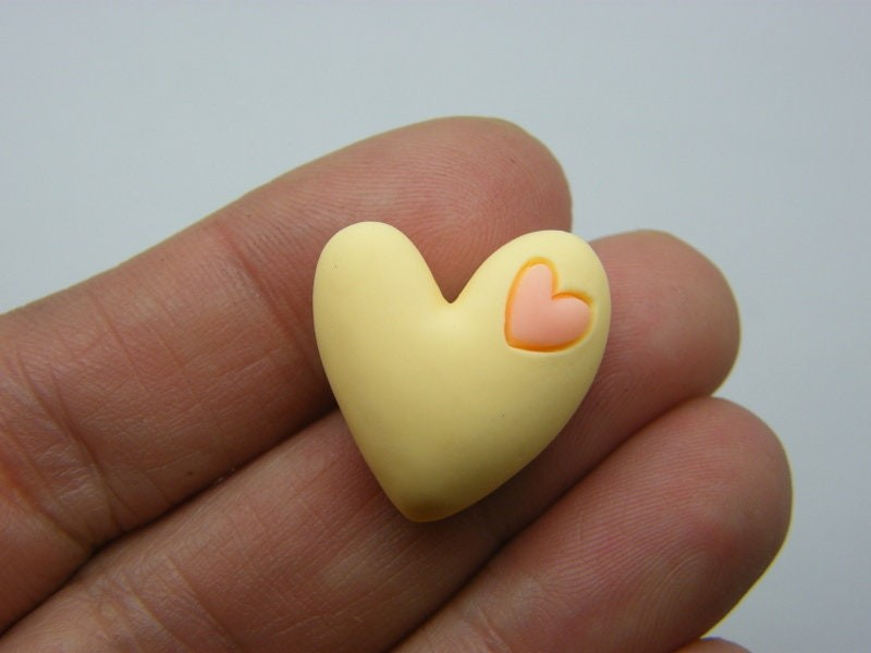 8 Heart embellishment cabochons yellow coral resin H188