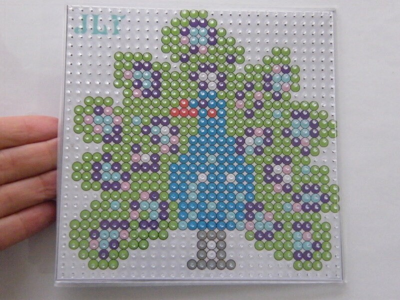 1 Peacock iron on fuse beads kit template and beads DIY