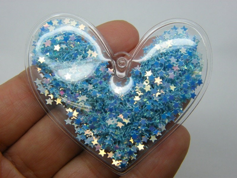 2 Heart blue star sequins pendants PVC plastic H166