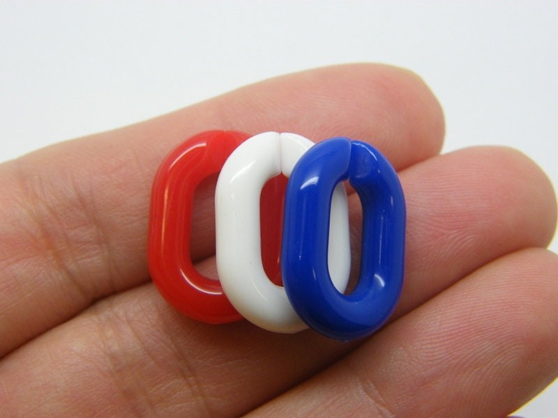 42  Quick link Red white and blue connectors acrylic AB