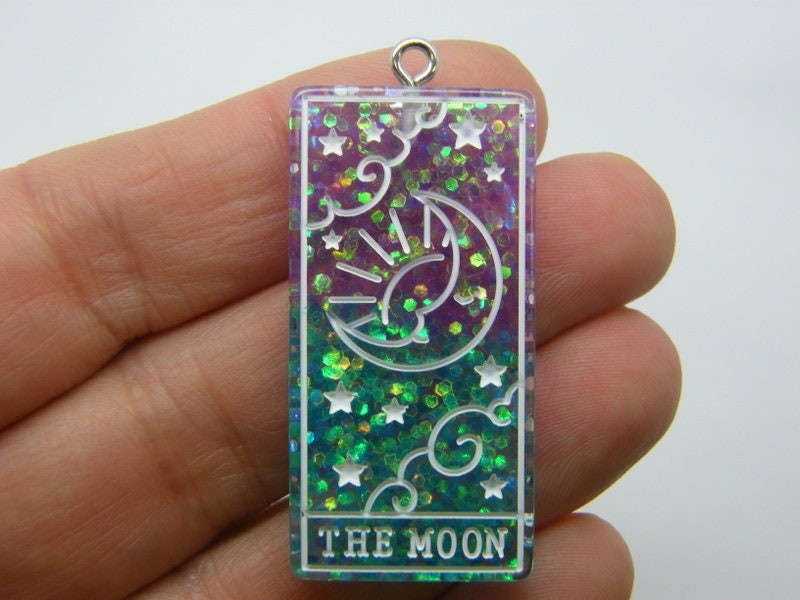 1 The moon tarot reading card pendant purple blue resin HC433