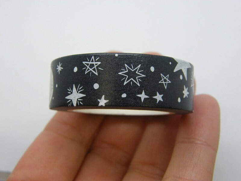 1 Roll moon and stars black white washi tape ST