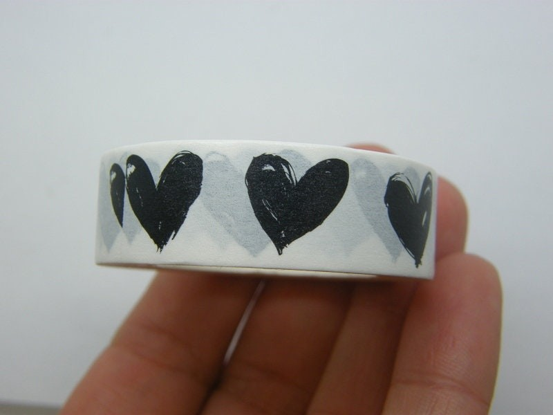 1 Heart washi tape black and white ST