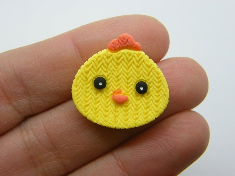 BULK 50 Chick chicken Easter embellishment cabochon yellow resin B10