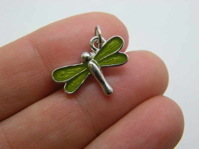 4 Dragonfly charms green silver tone A681
