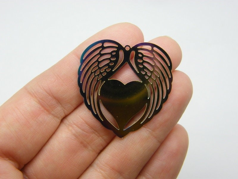2 Angel wing heart pendant  purple blue multi colour stainless steel AW14