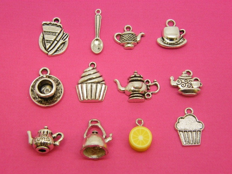 The High Tea Collection - 12 different antique silver tone charms
