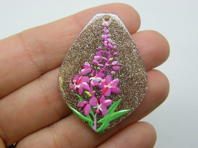 2  Flowers leaves pendants resin F434
