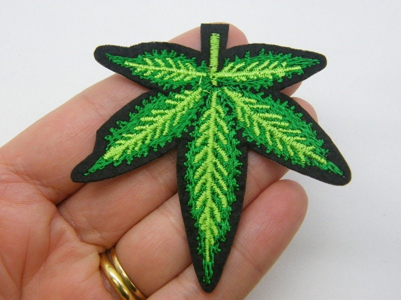 2 Marijuana weed leaf patches green black L
