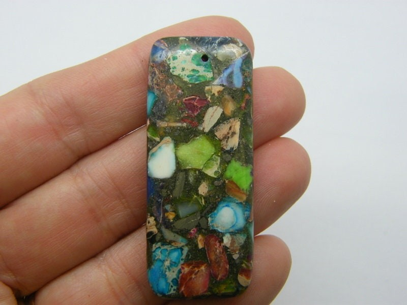1 Stone rectangle  pendant RANDOM natural regalite M19