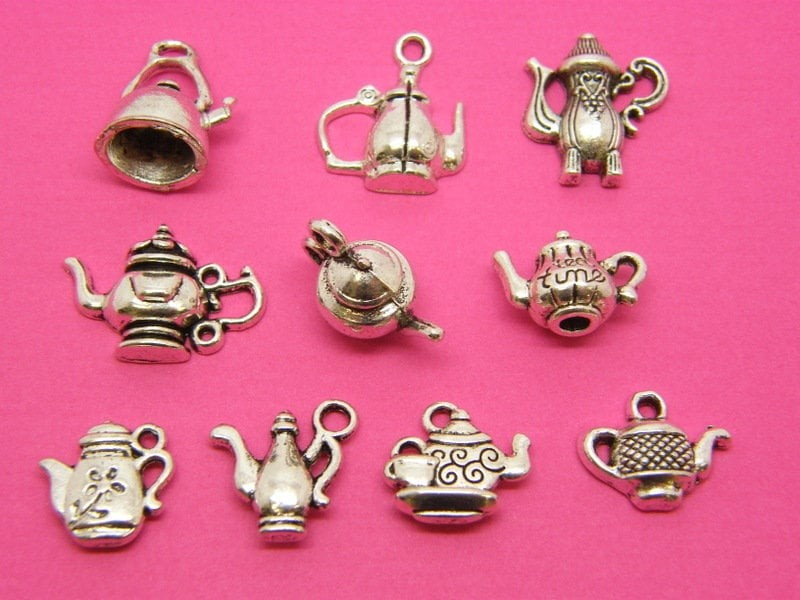 The Ultimate Teapot Charms Collection - 10 different antique silver tone charms