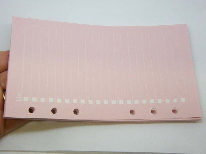 40 Sheets pink List lined paper refill file for size A6