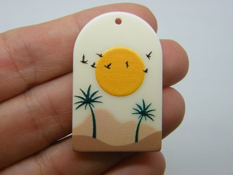 2 Sun mountains palm tree scenery pendants resin WT51