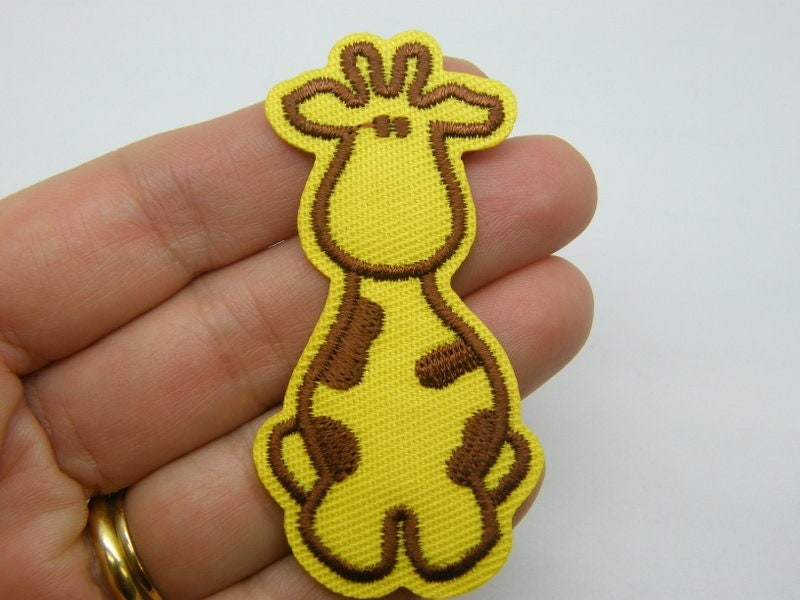8 Giraffe iron on/sew on patches yellow brown fabric A530