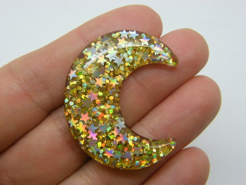 BULK 30 Moon star  glitter embellishments cabochons resin M30