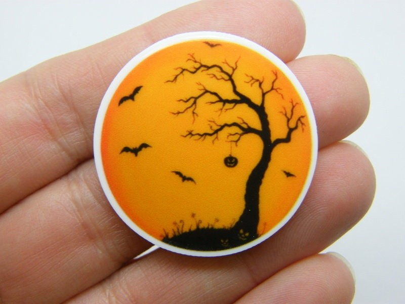 4 Creepy tree bat Halloween scene embellishment cabochon HC173