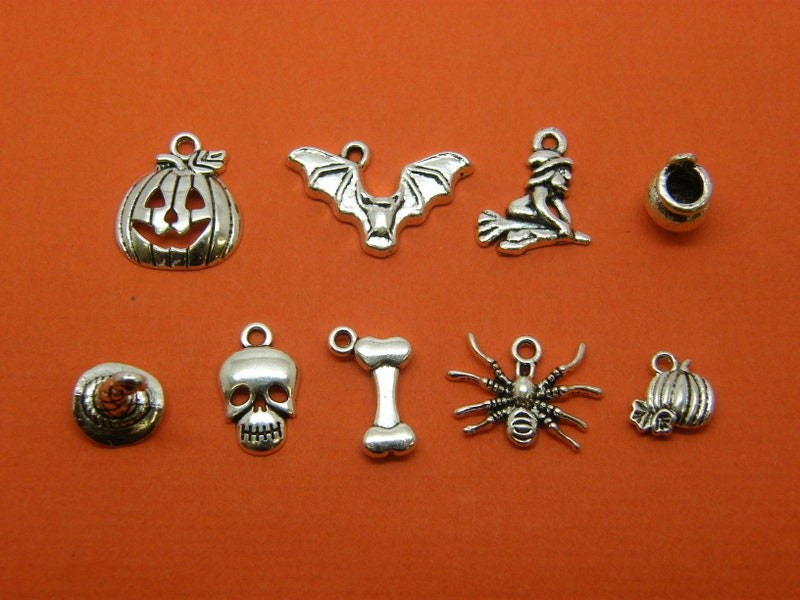 The Halloween Charms Collection - 9 different antique silver tone charms