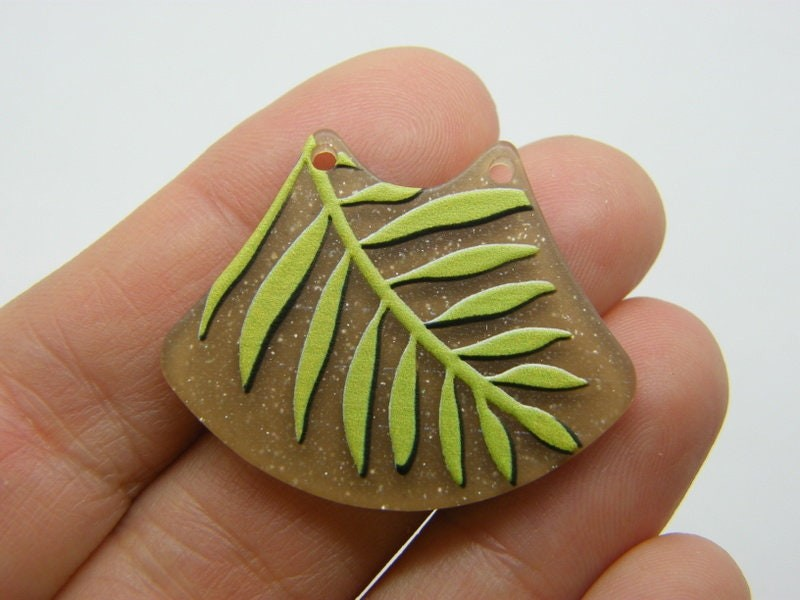2 Leaf connector charms resin L