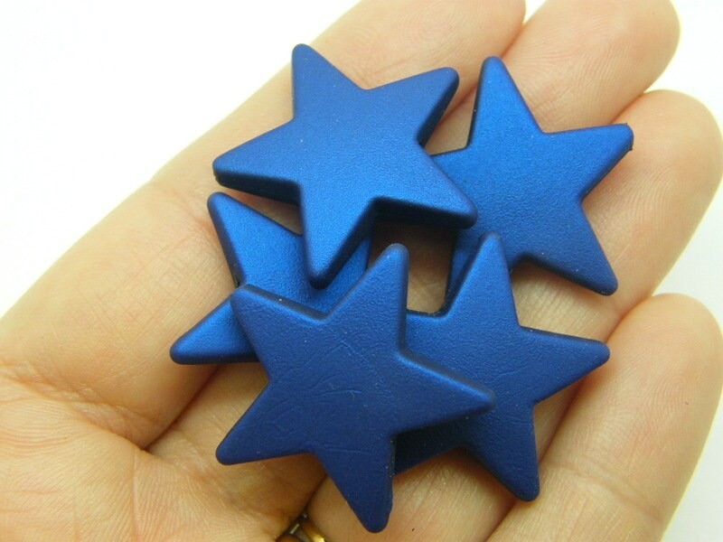 BULK 20 Blue metallic star beads rubberized acrylic S268