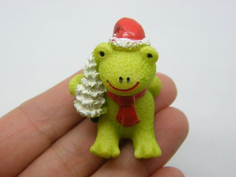 1 Christmas tree frog embellishment miniature resin CT