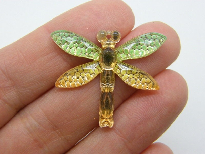 4 Dragonfly pendants green yellow acrylic A1146