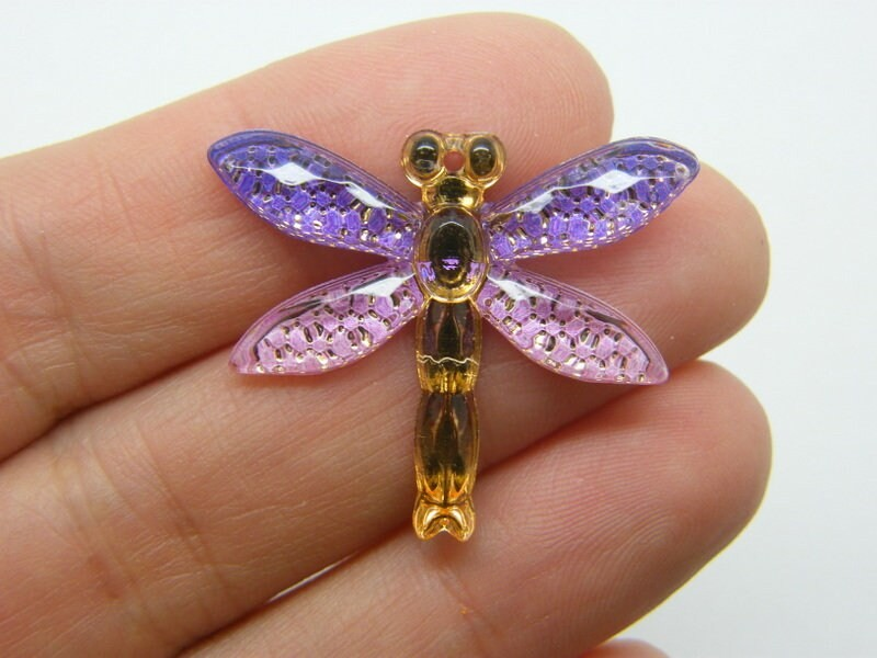 4 Dragonfly pendants purple pink acrylic A1145