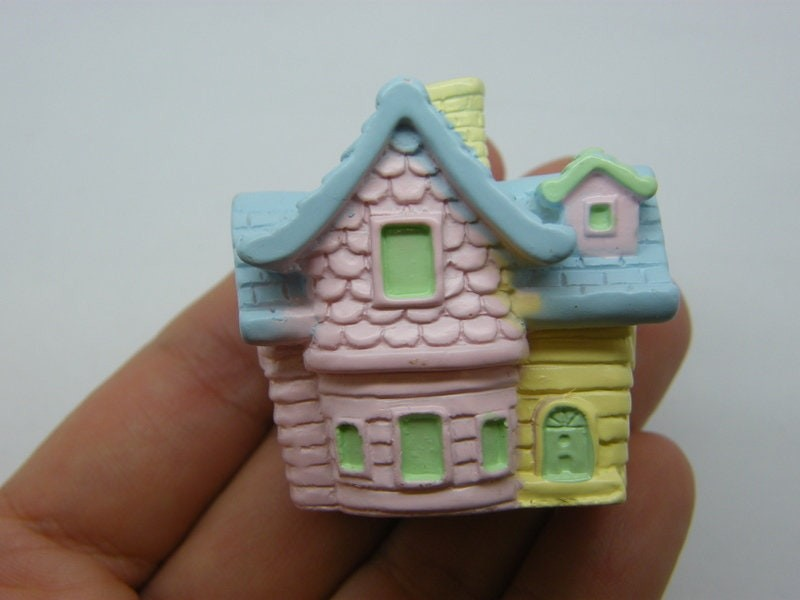 1 House blue pink yellow miniature resin P23