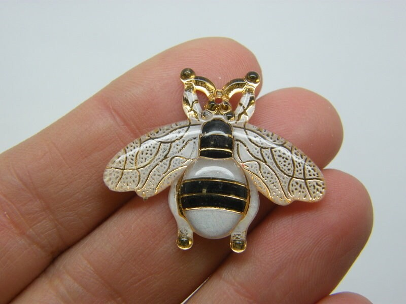 6 Bee pendants white acrylic A117