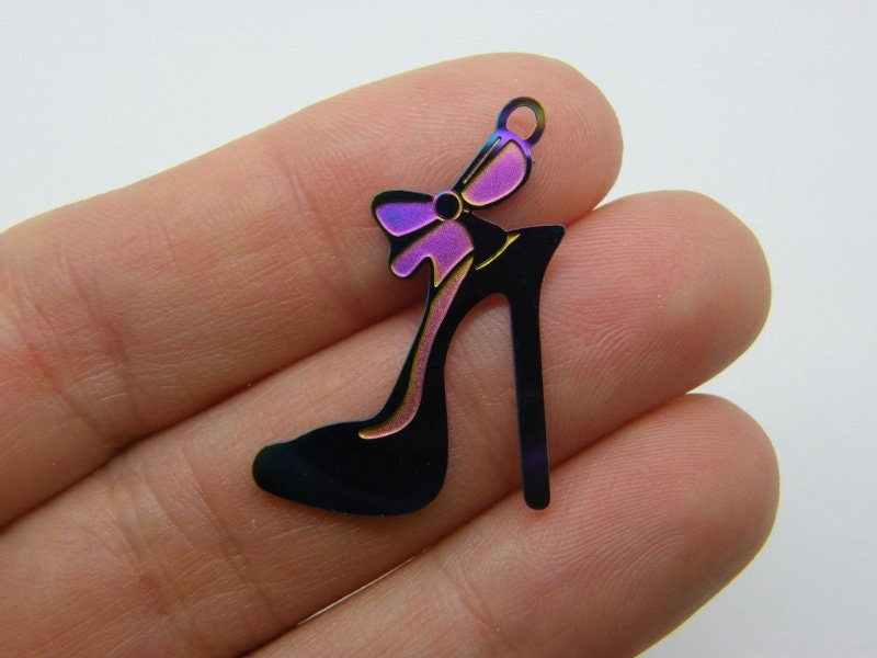 4 High heel shoe charms multi colour stainless steel CA103
