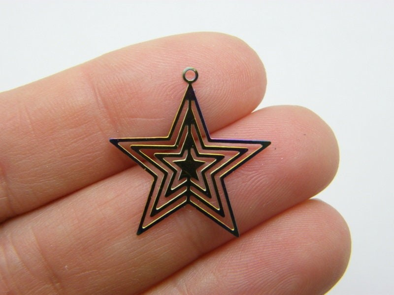 4 Star charms multi colour stainless steel S275