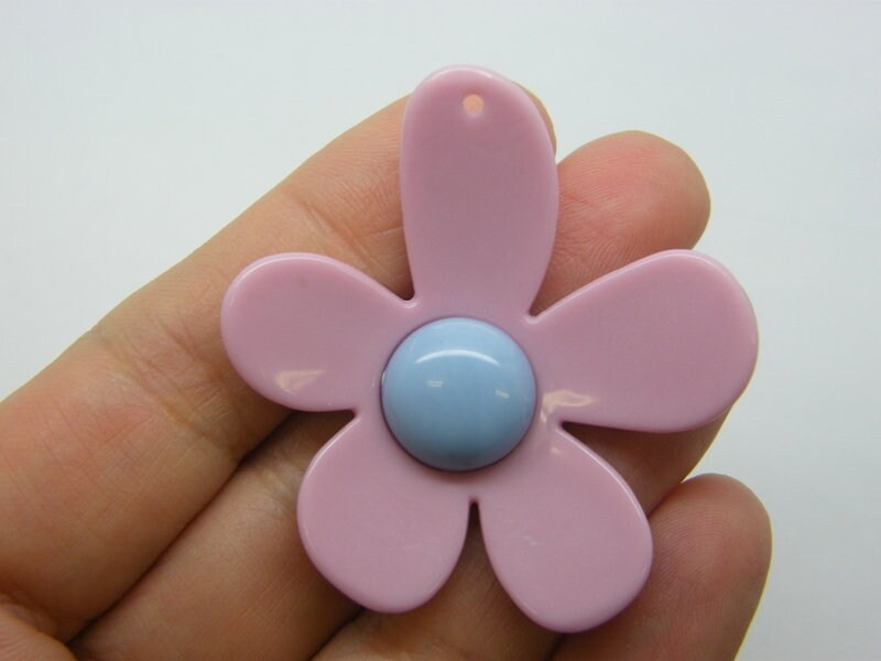 BULK 20 Flower pendants rose pink blue resin F15