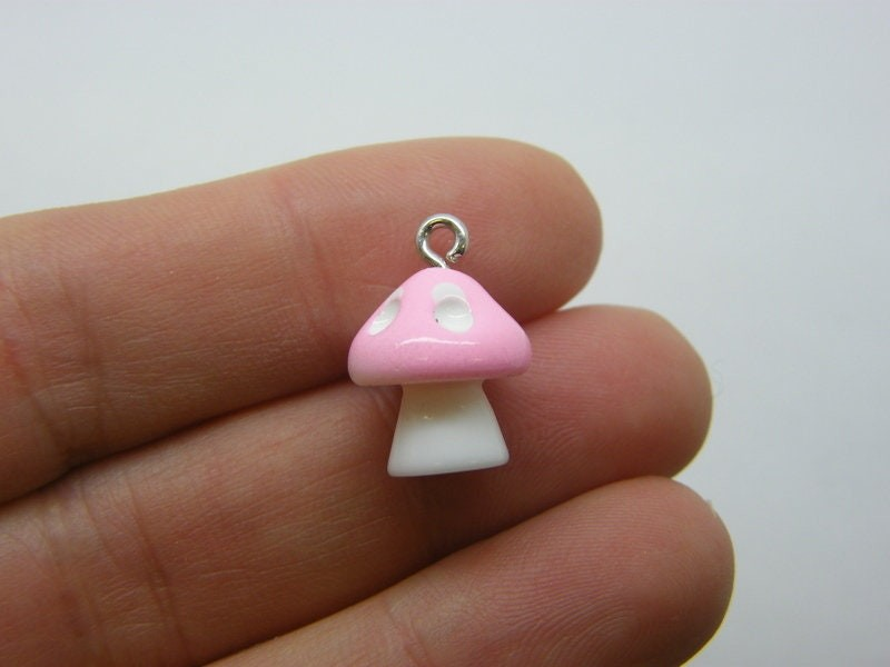 4 Mushroom pink and white charms resin L355