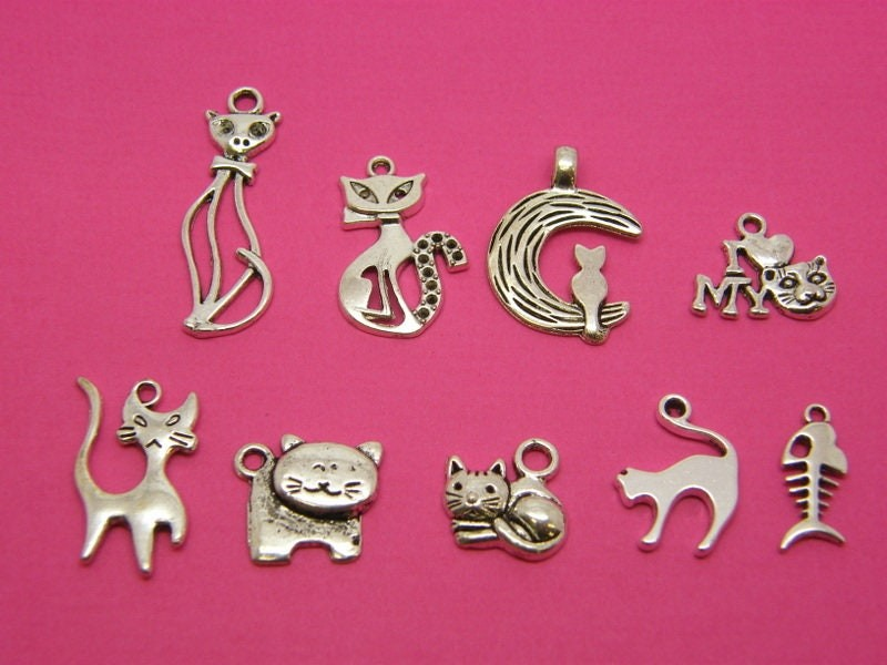 The Cat Collection - 9 antique silver tone charms