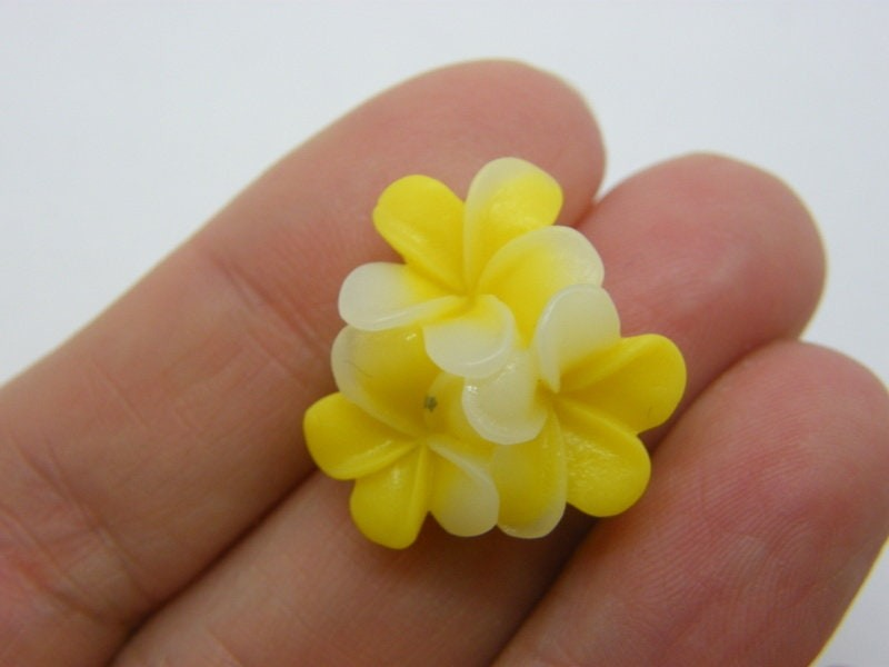 8 Flowers embellishments cabochons yellow white resin F
