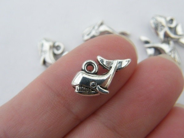 8 Whale charms antique silver tone FF73
