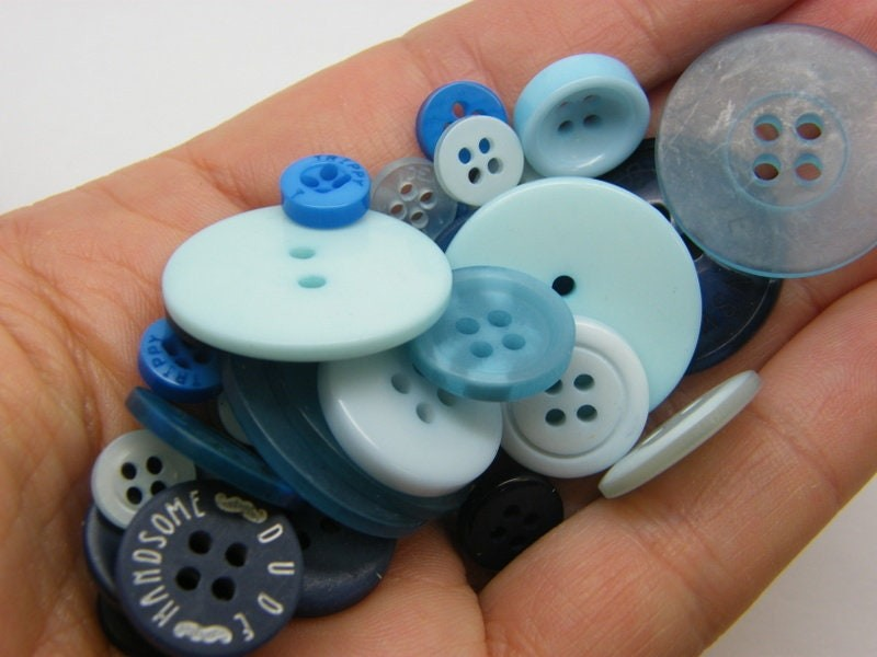 50 Blue buttons assorted resin P663
