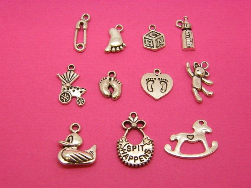 The Baby Collection - 11 antique silver tone charms