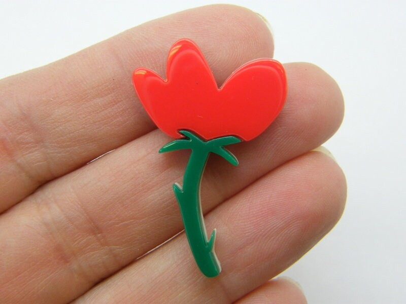 2 Flower embellishments cabochons red  green resin F472