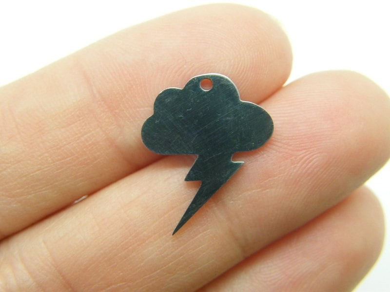 2 Cloud lightning charms silver tone stainless steel S280