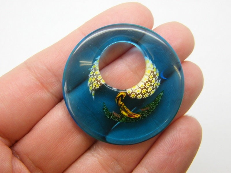 1 Round pattern pendant handmade lamp work glass M552