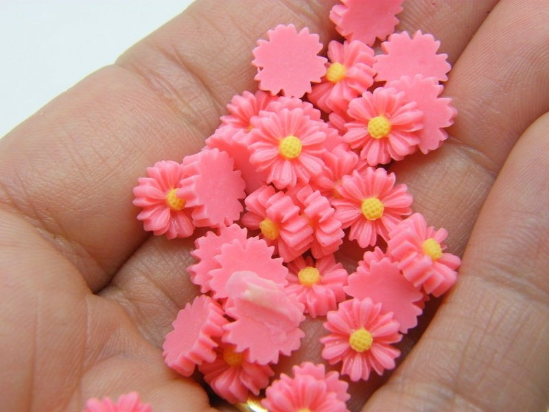 30 Daisy flower cabochons embellishment pink white resin F461